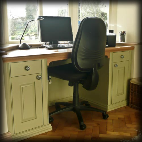 Fitted library cabinets and desk: Desk