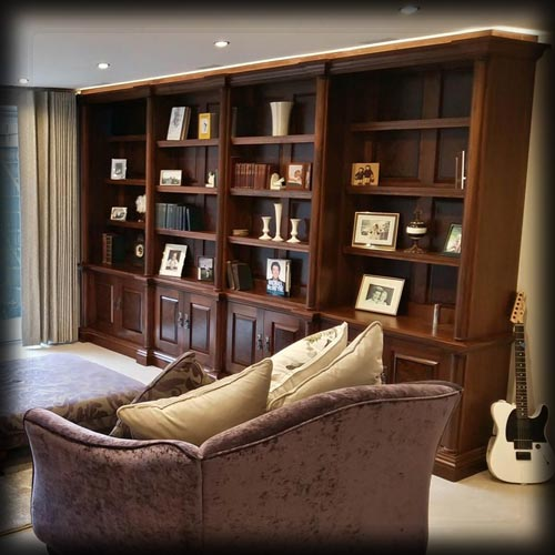 Library Storage and TV Cabinet with media storage: TV Hidden