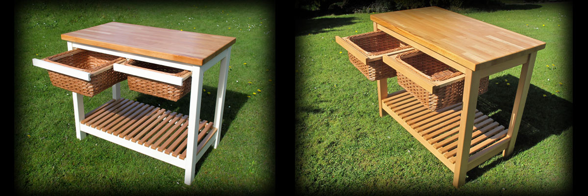 Butchers Block: Bake off style! With sliding wicker draws.
