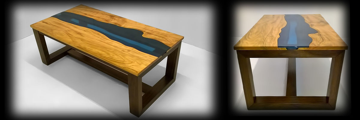 River Coffee Table: Welsh Cherry and American Black Walnut