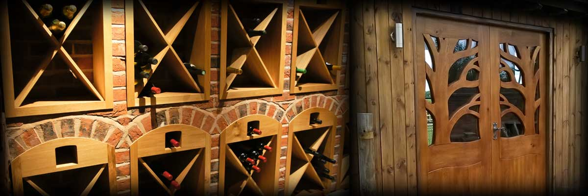 Oak Wine Racks and Solid oak glazed tree-house doors